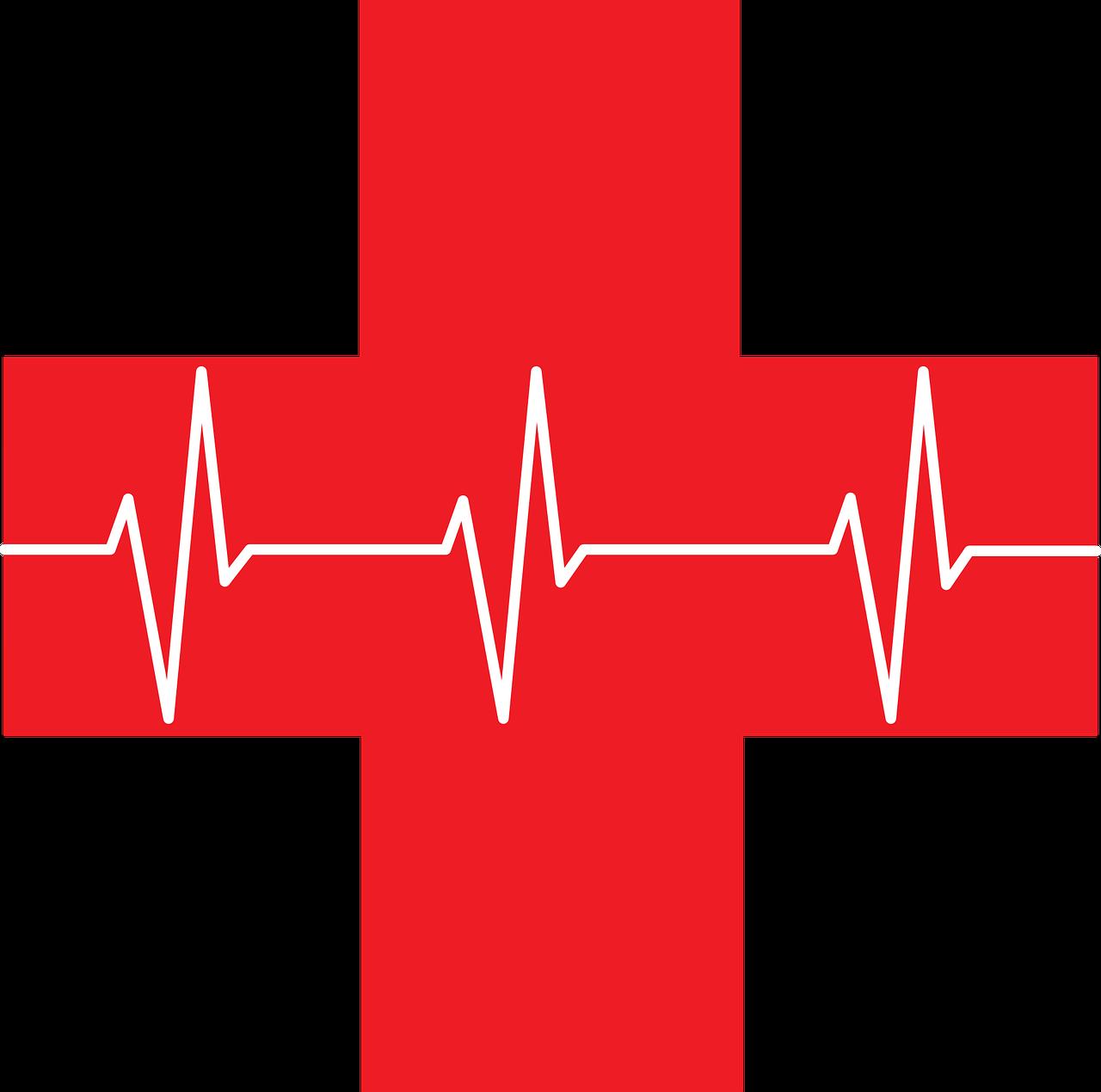 ekg, red cross, first aid
